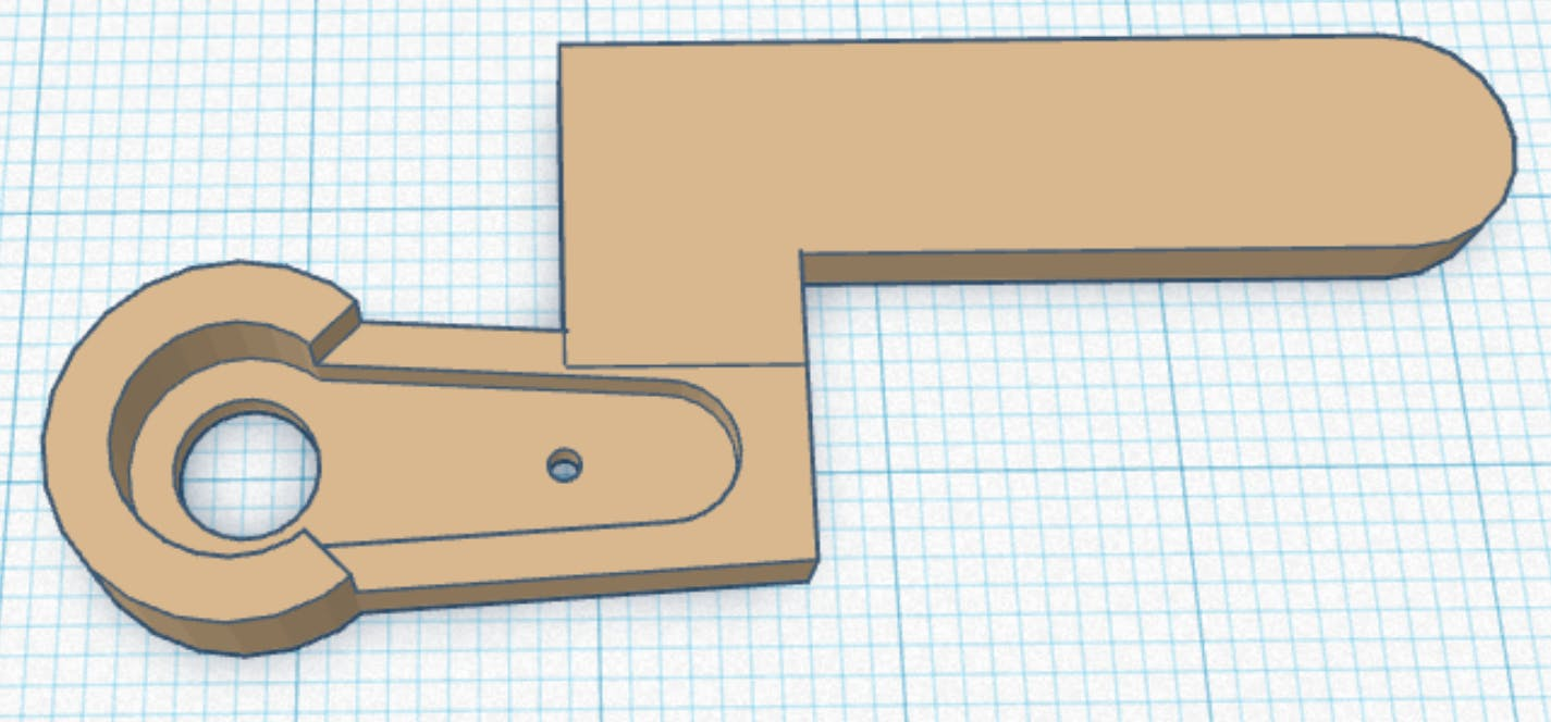 3D printed longer servo arm.