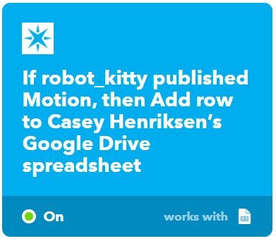 The first photon's IFTTT applet to update Google Sheets