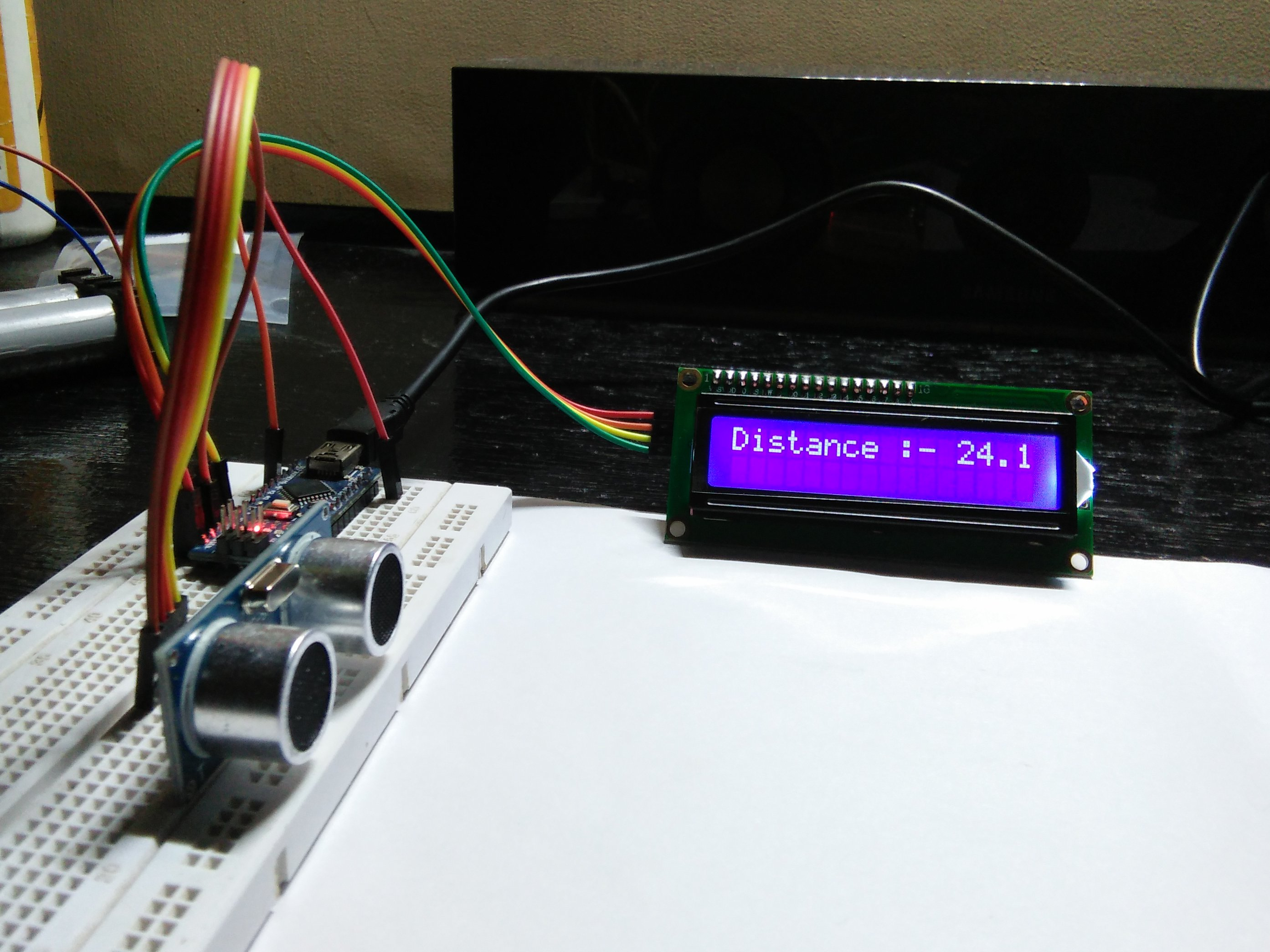 Ultrasonic sensor with lcd i c arduino project hub