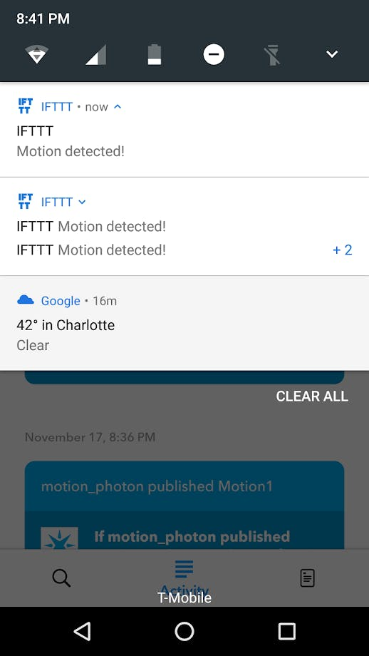 IFTTT notification example
