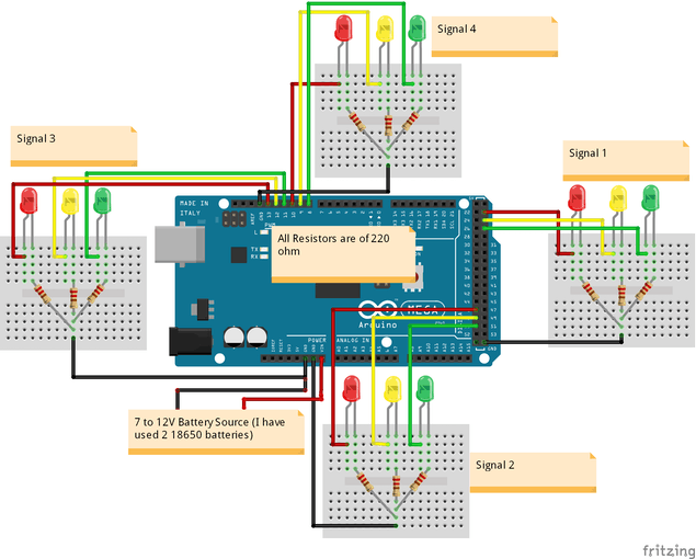 How to Build an Arduino Traffic Light Controller | 4-Way ...  Way Circuit Diagram on