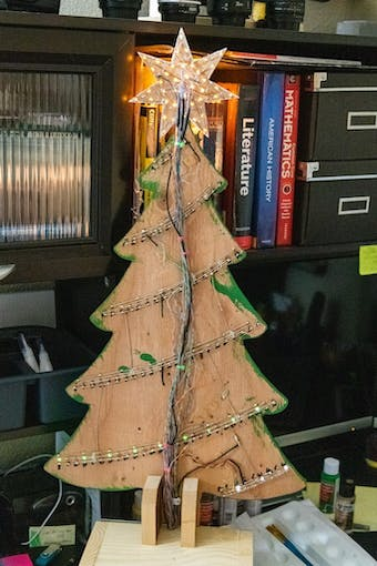 wiring on the back of the tree