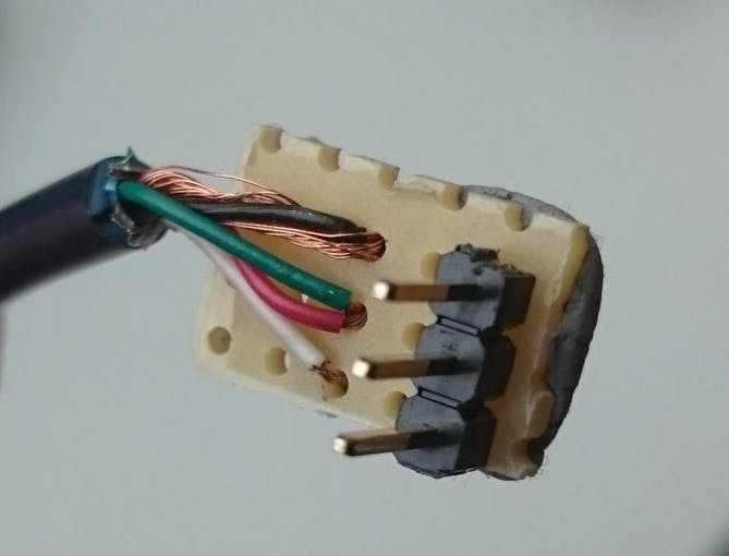 The breadboard plug of one LED chain (bottom side)
