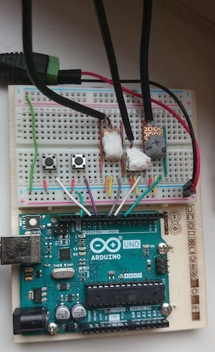 The whole breadboard. Notice some guarding wires to prevent wrong plugging.