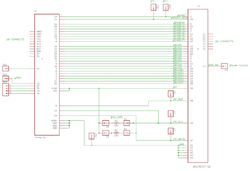 schematic of usb converter board for lenovo t61 keyboard using teensy 3 2