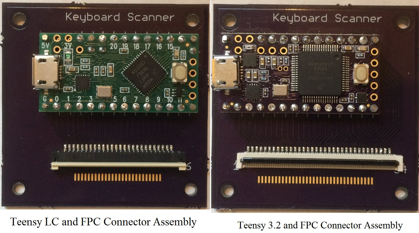 The same circuit board is populated with either a Teensy LC or 3.2