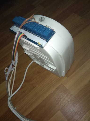 Back view of the fan with relays