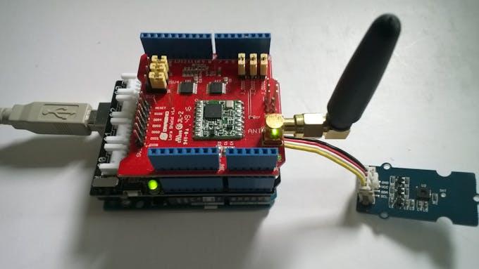 Arduino Uno R3 device with stacked Seeedstudio & Dragino shields