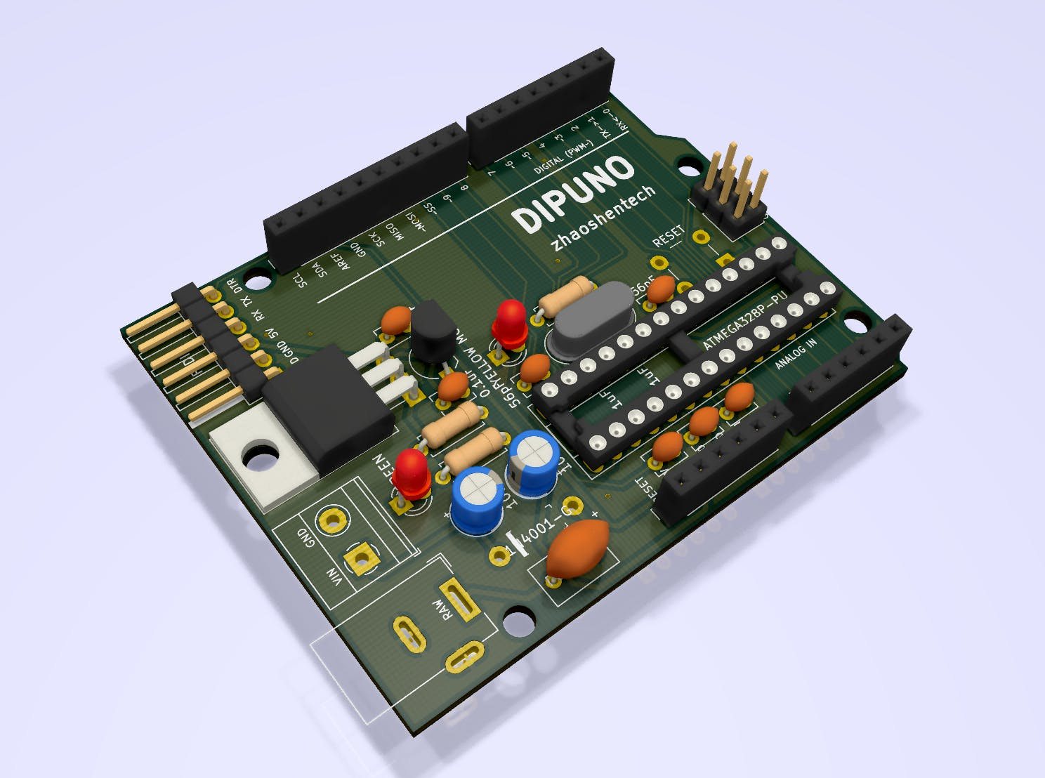 Screenshot of the 3D rendering in KiCad