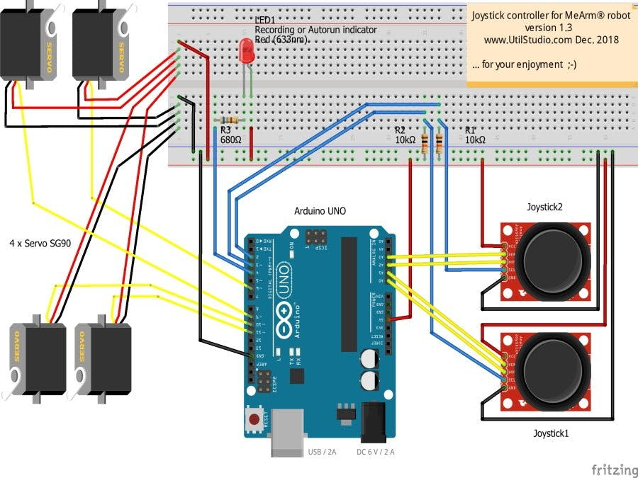 Joystick Controller for MeArm Robot - Recording Coordinates