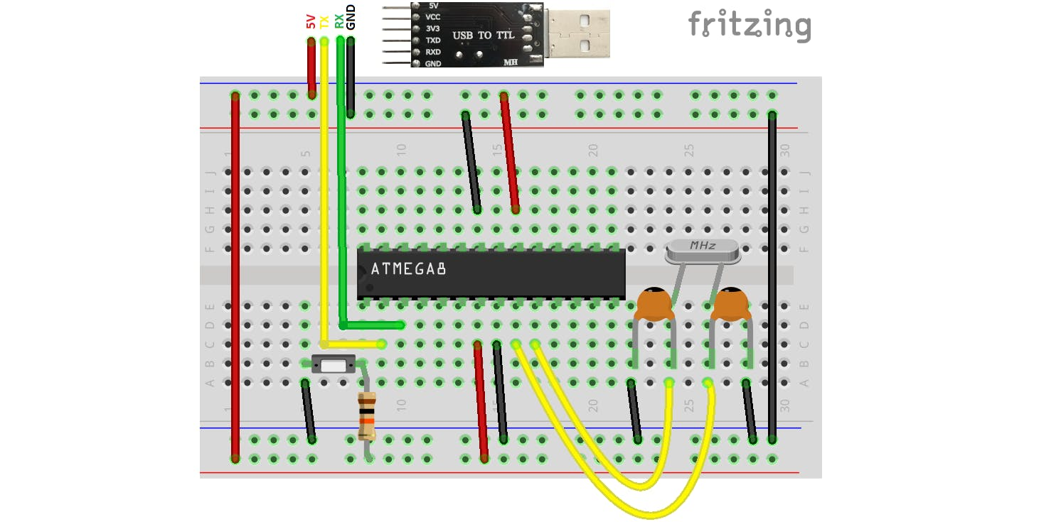 Programming ATmega8 using Arduino IDE and a USB to TTL module