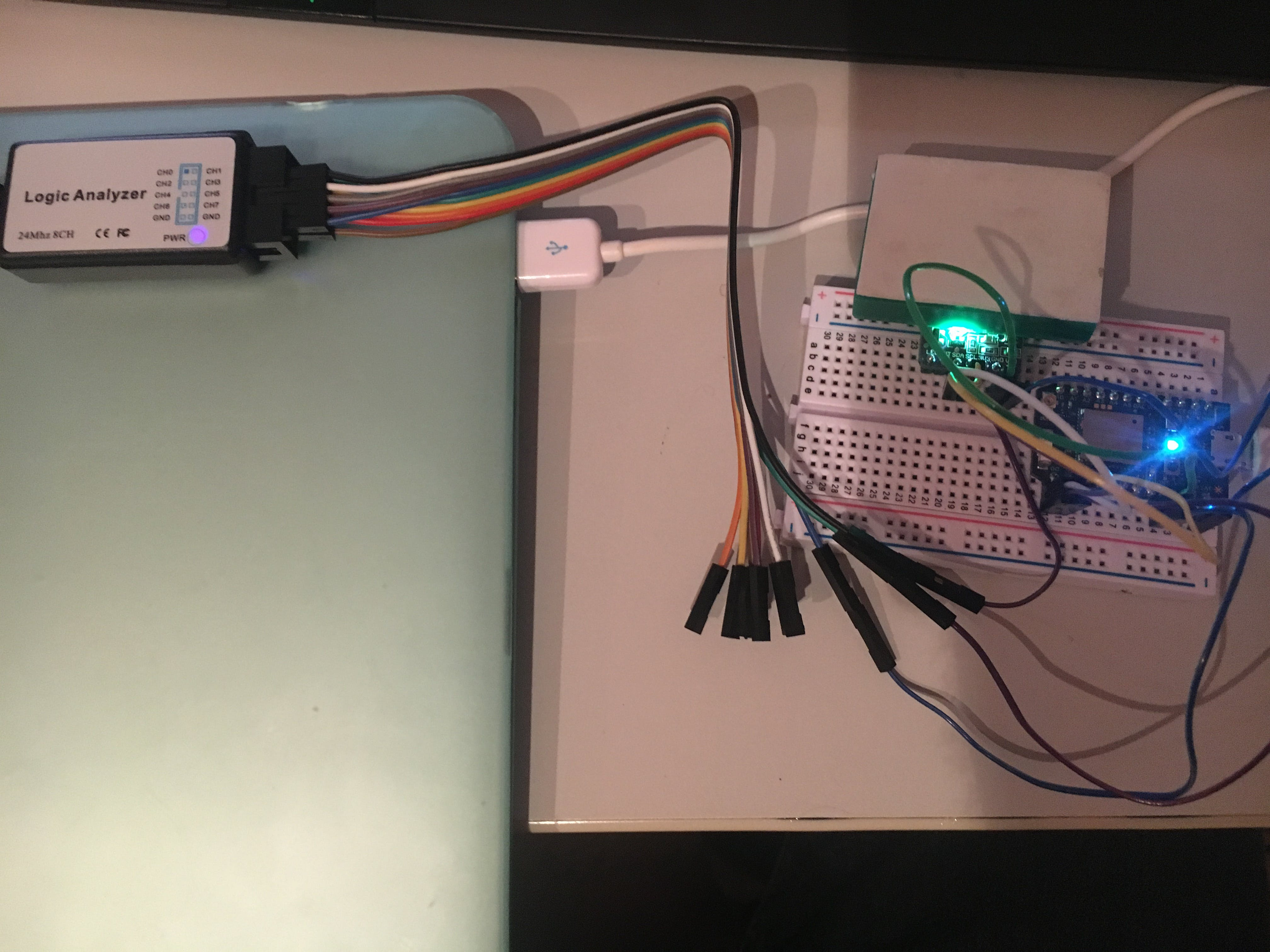 full circuit with LA and RGB color sensor on I2C