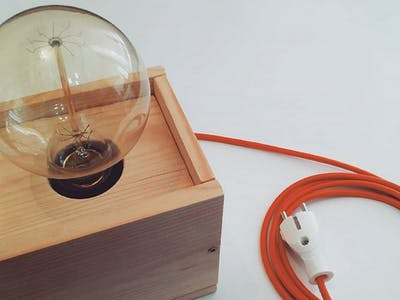 Voice Controlled Wooden Edison Lamp - Question Price $5