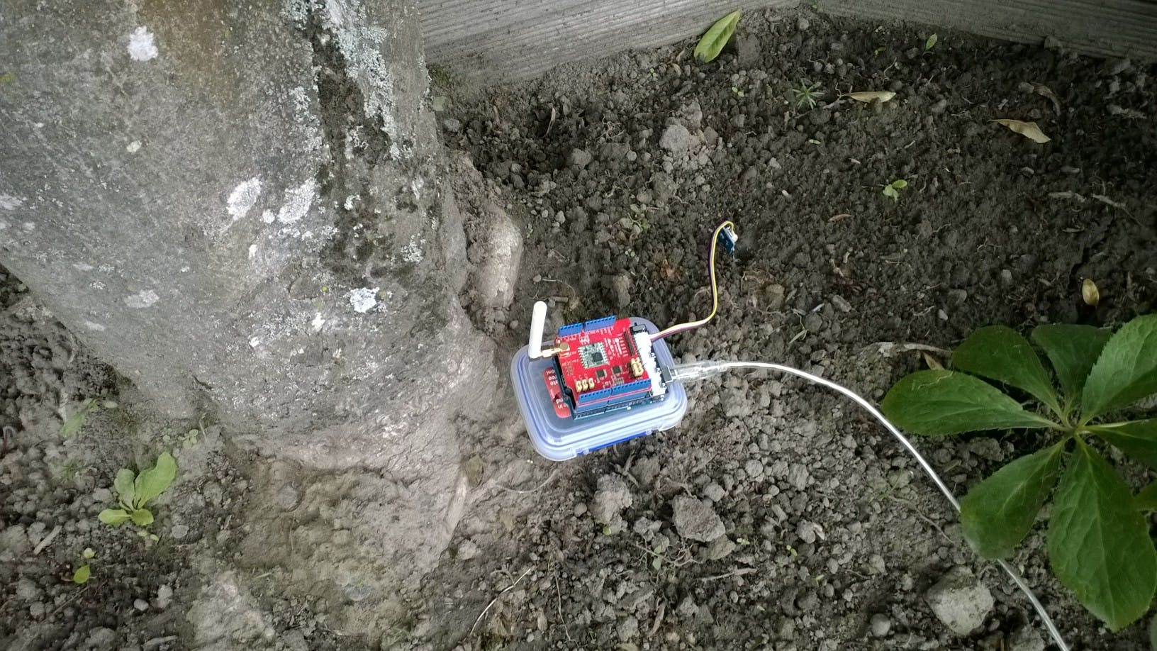 Duino device deployed in my yard for testing