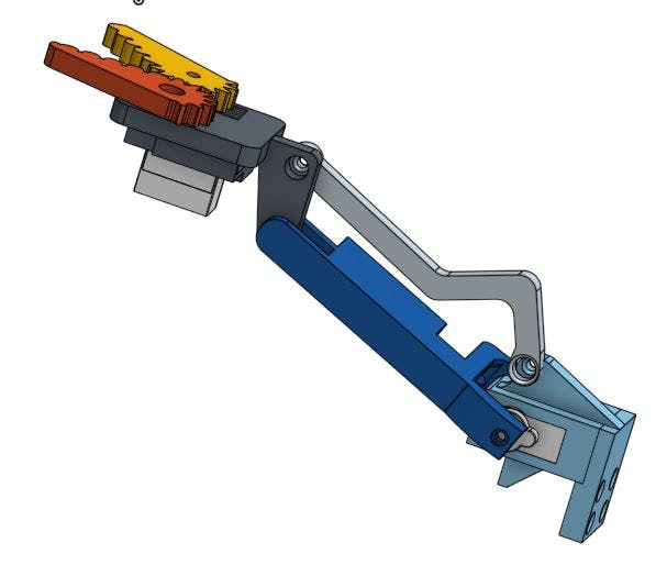 3D model (publicly posted at OnShape.com) of the assembled grip arm. This is assembled with the claw servo on the bottom, see below for the alternative.