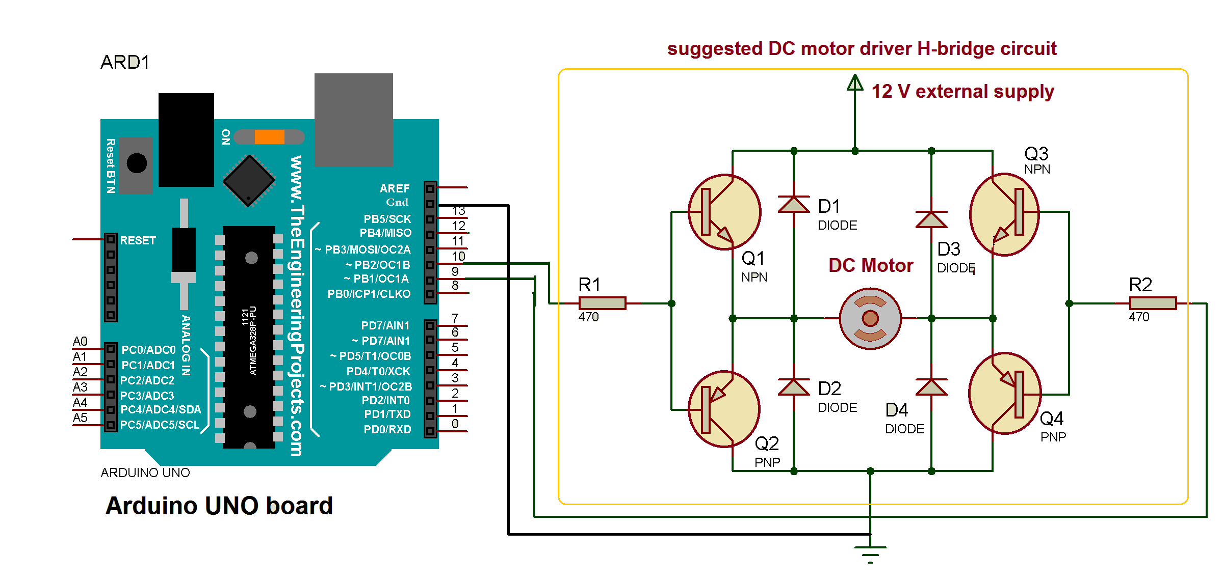 Motor Schematic Diagram Also Dc Control Circuit On Controlling Library Arduino Uno And H Bridge Driver Used To