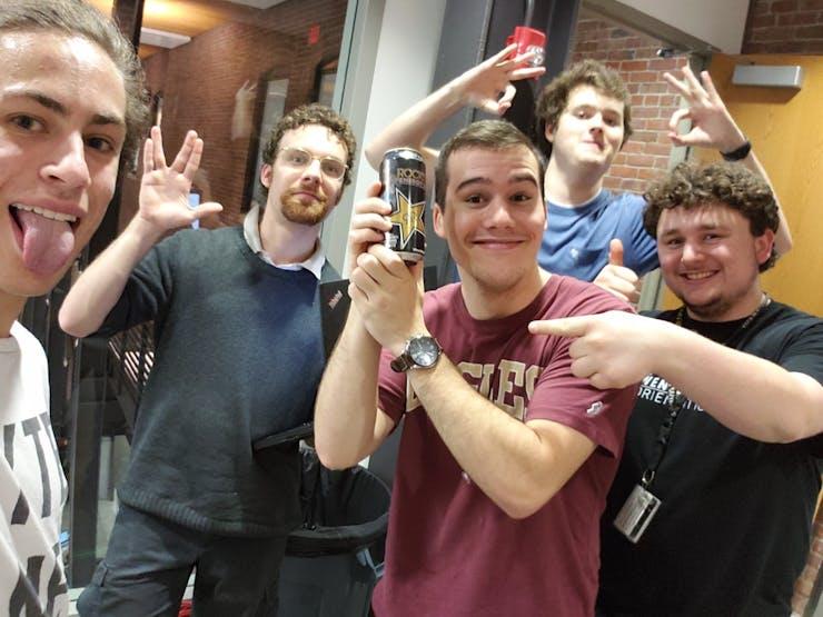 Nova (Far Left), Ben (Second Left), Devin (With Can), Nathan (Back), Wyatt (Far Right).