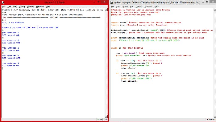 Controlling an Arduino Using PythonShell