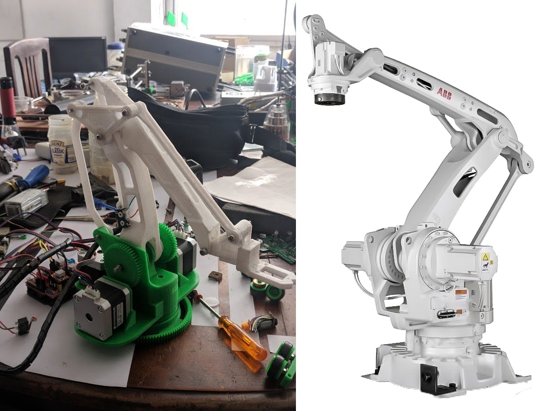 Figure 1 : On the left, the MK2 Plus arm. On the right, the ABB IRB460.