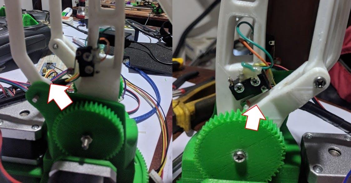 Figure 2: Left image - Y Limit Switch. Right Image - X Limit Switch