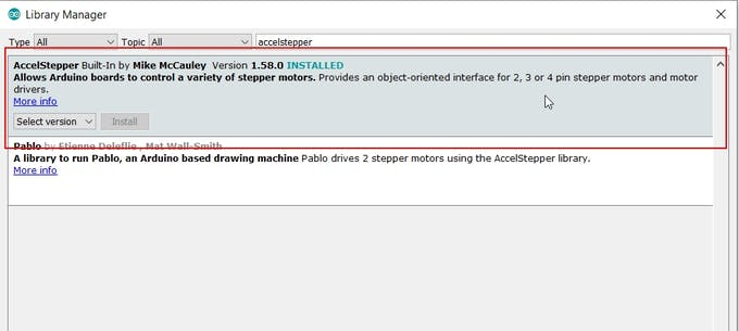 Figure 4: Getting the AccelStepper Library