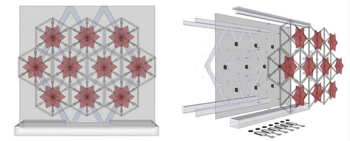 Left: Digital model with ten hexagonal Repeat Units. Right: exploded view explain design components