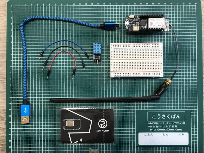 All parts to build a Cellular connected sensor with Global Soracom Air SIM