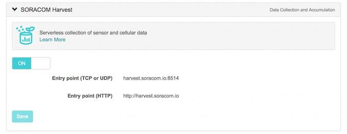 Soracom Harvest configuration