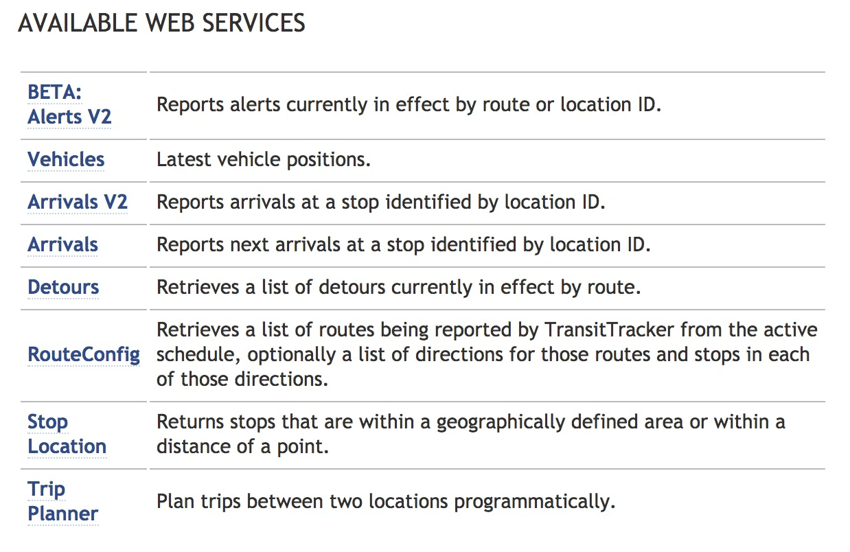 Available Data Services in the Trimet API