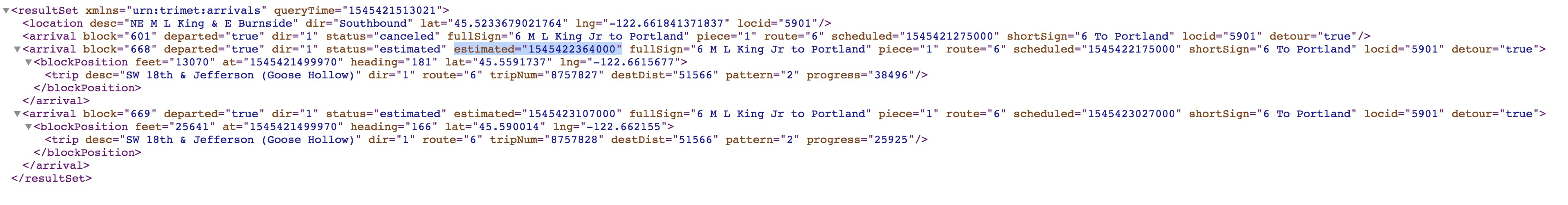Trimet API results
