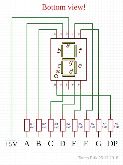 One 7-seg LED with resistors