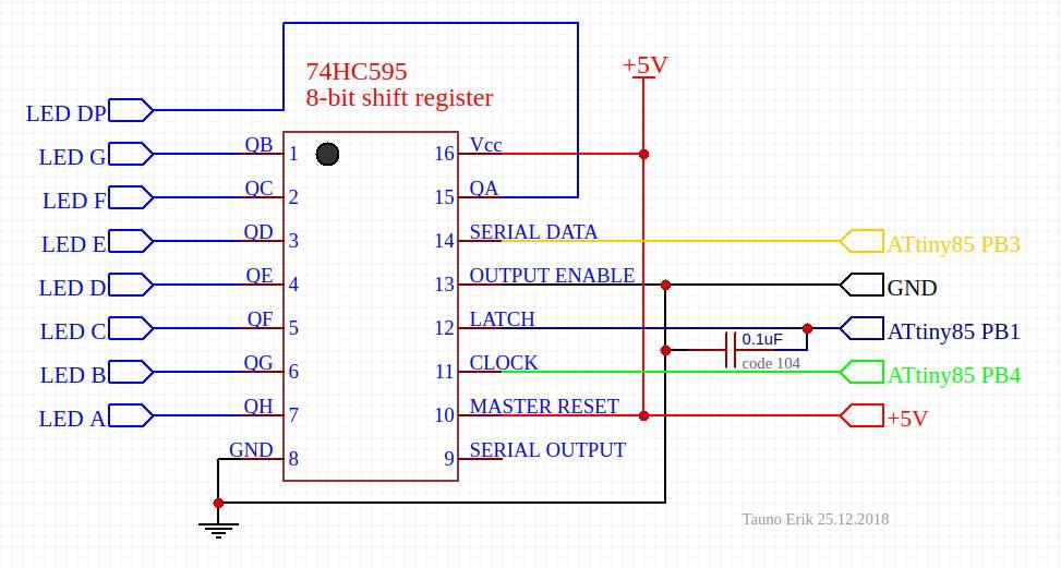 One 74HC595 Shift register