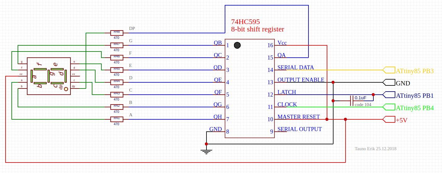 7-segment LED + 74HC595 Shift Register