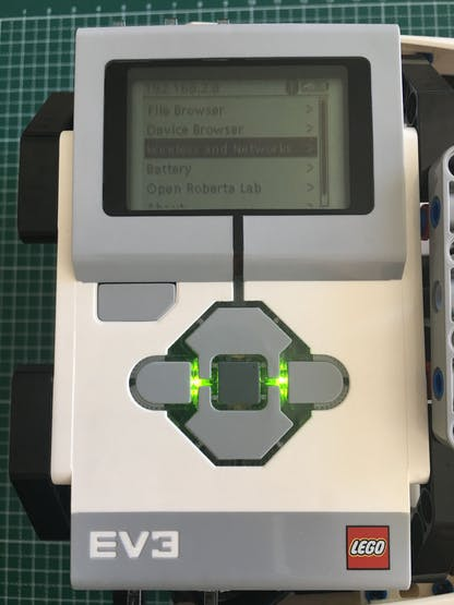 LEGO EV3 IP address on top left of the screen
