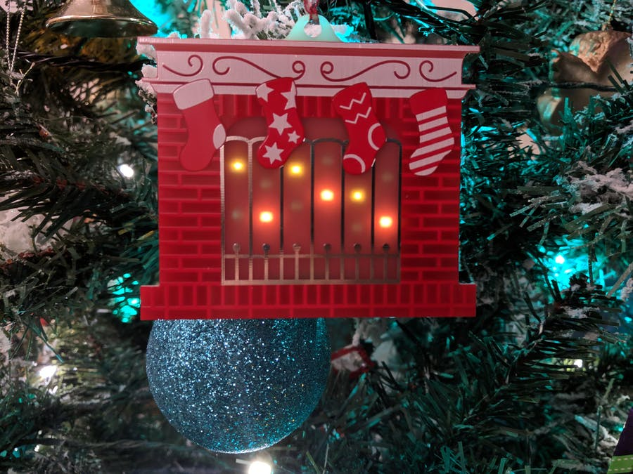 Festive Fireplace PCB Ornament