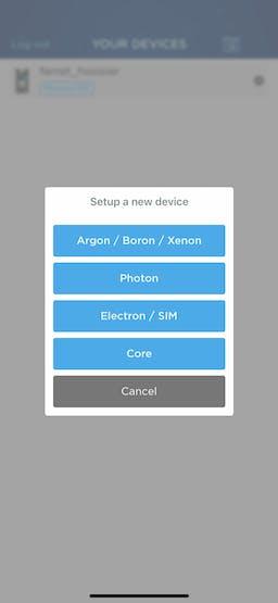 Select Argon/Boron/Xenon to continue