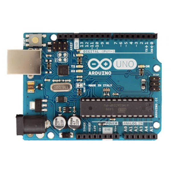 Simple Arduino UNO board. We used to control Robot Arm made in Italy