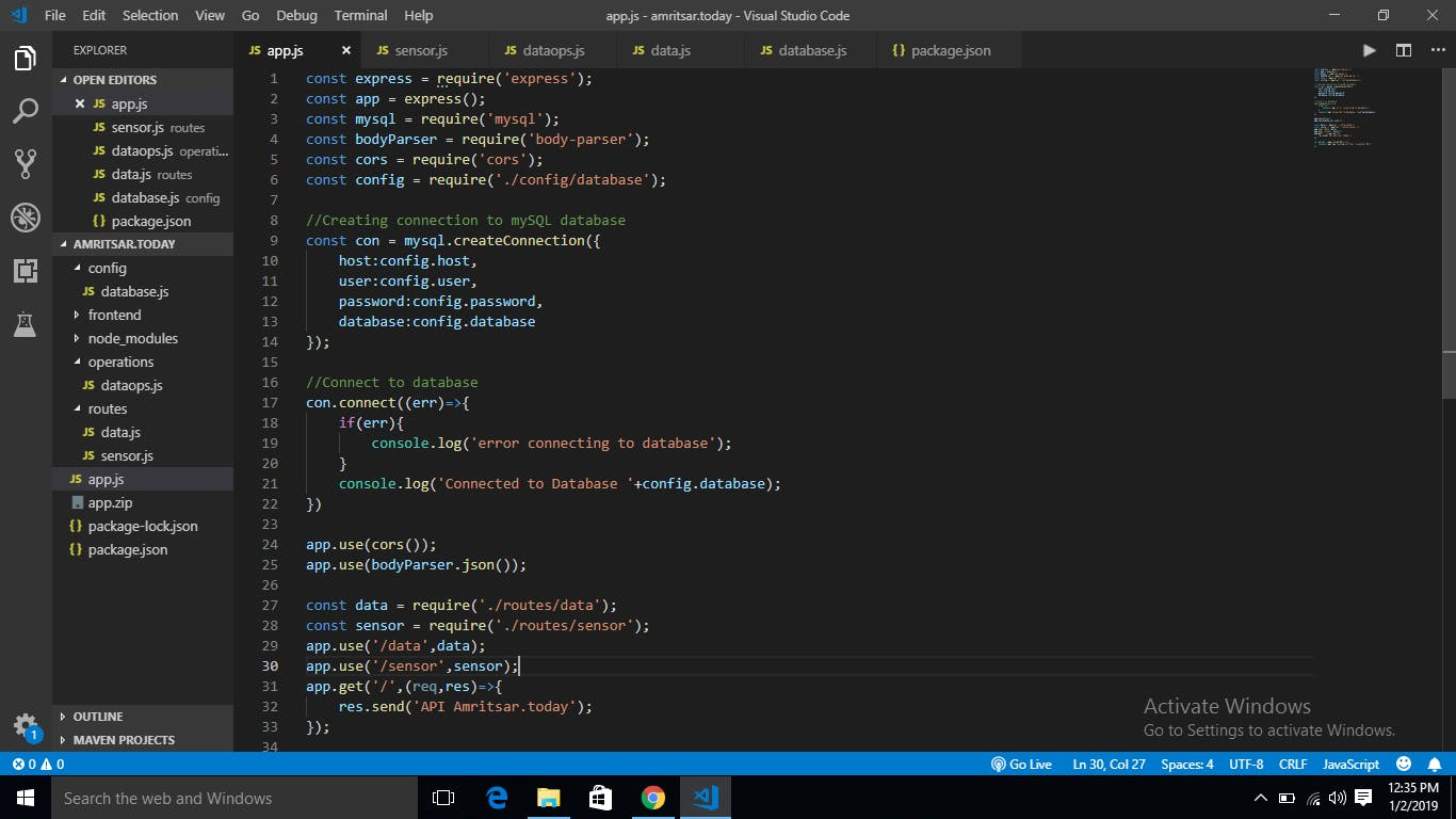 Writing code for backend in VS Code IDE