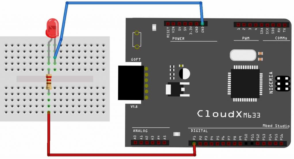 Blinking An Led With Cloudx Hackster Io