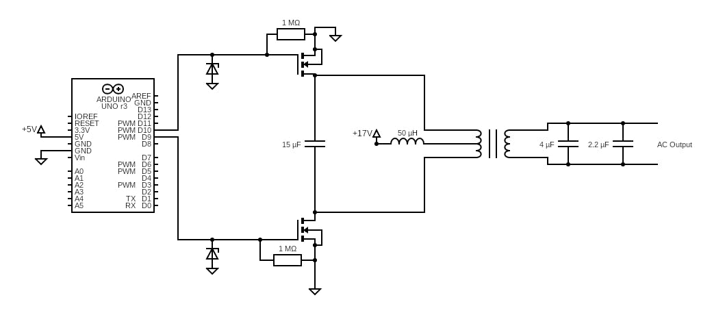 Arduino inverter driver schematic. Both MOSFETs are Infineon CoolMOS C7 Superjunction type.