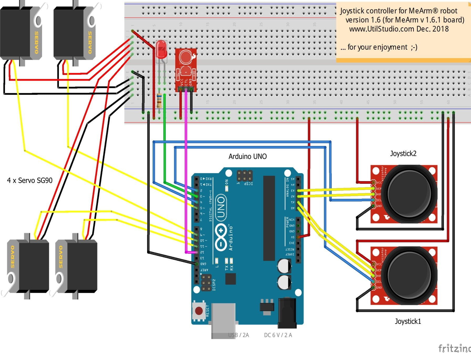 MeArm 1.6.1 Robot Joystick Board Recording Movements (IR)