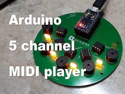 Arduino 5-Channel MIDI Player