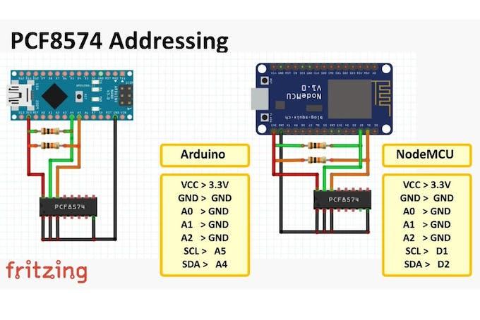PCF8574 GPIO Extender - With Arduino and NodeMCU - Arduino