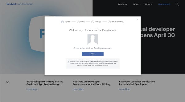 Create a new App on FB Developer Portal