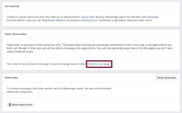 On the Dashboard tab, choose Set Up on the Messenger card and then Create a new page