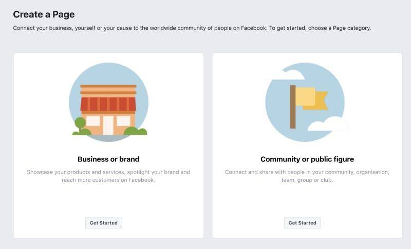 Create a Community or public figure Facebook page