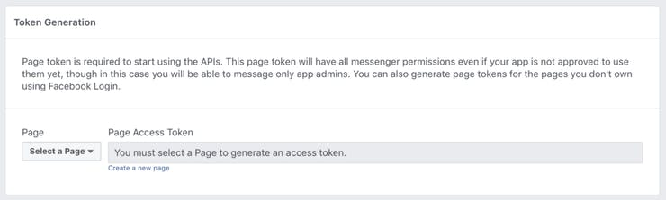 Refresh the page and then choose your Facebook page name from the dropdown to generate a token