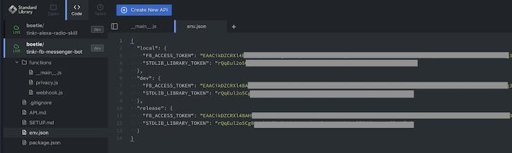 Enter your FB Access Token and the Standard Library Token in your env.json file
