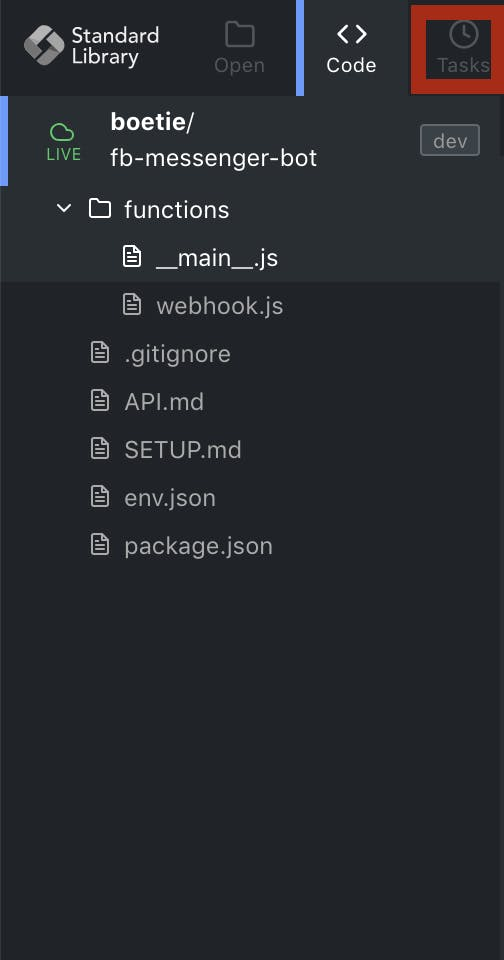 Click on Tasks to set up your code to run on a schedule