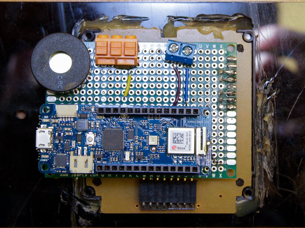 The protoboard attached to the back of the keypad.